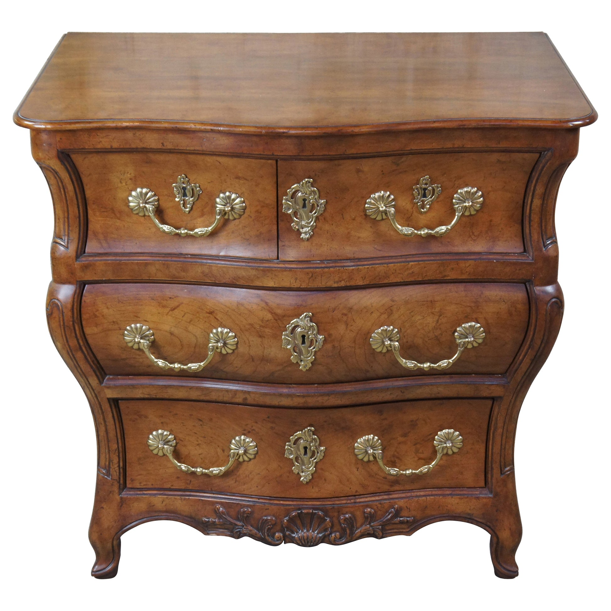 Baker Furniture McMillen Walnut Serpentine Louis XV Bombe Chest Commode Console
