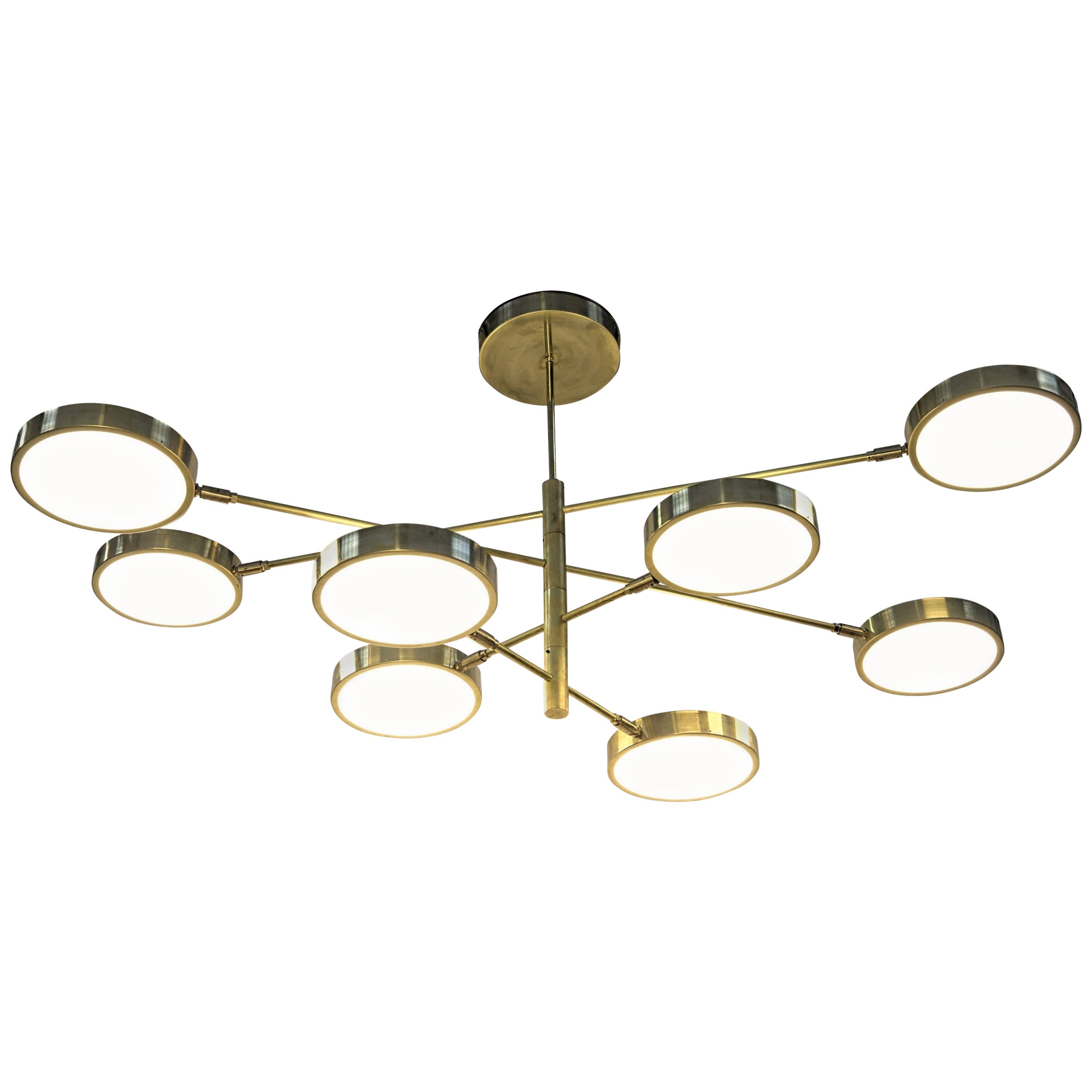 Sistema, Brass 8 Rotating Orbitale Arms Chandelier, Featured for Dining Table