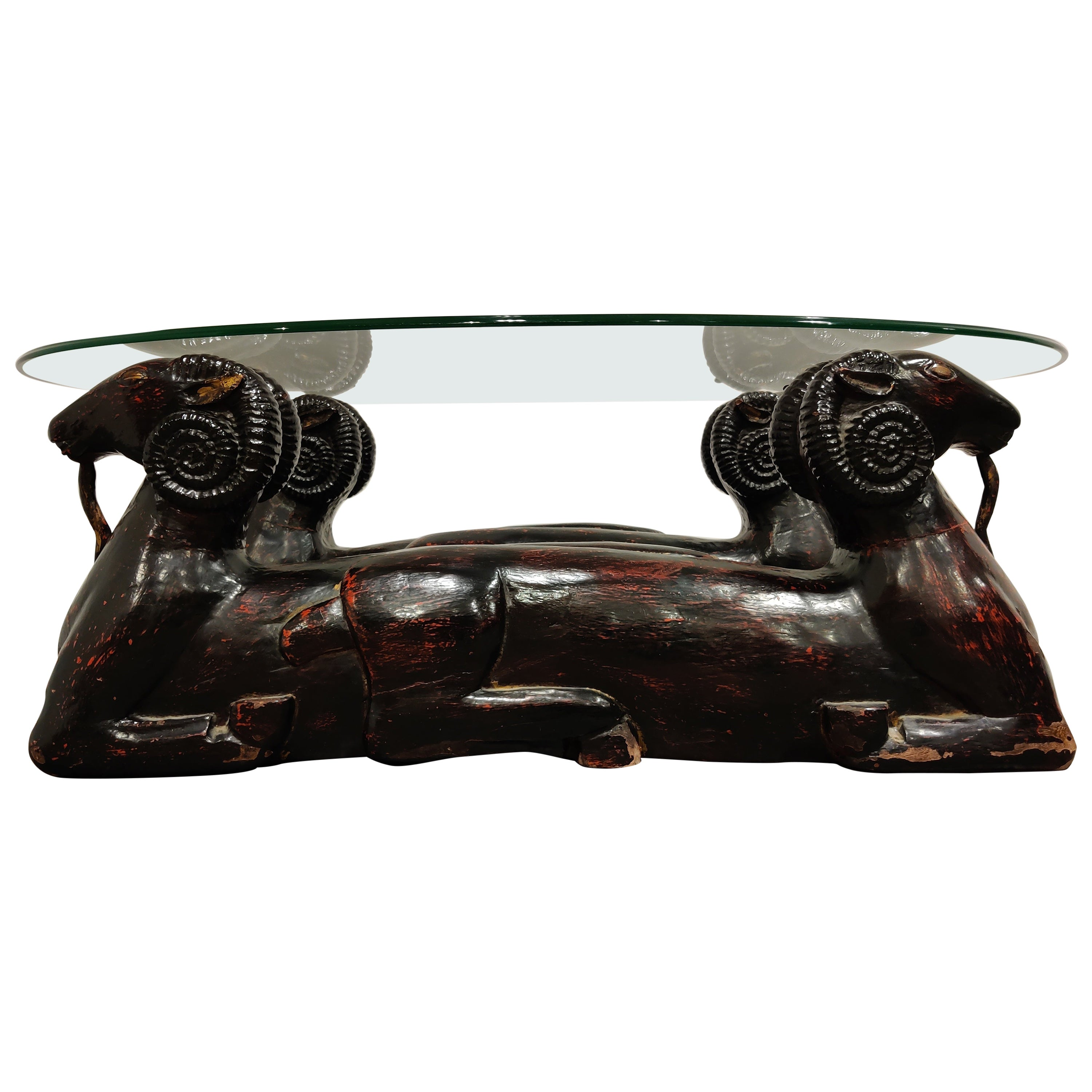 Carved Double Ram Head Coffee Table, 1980s