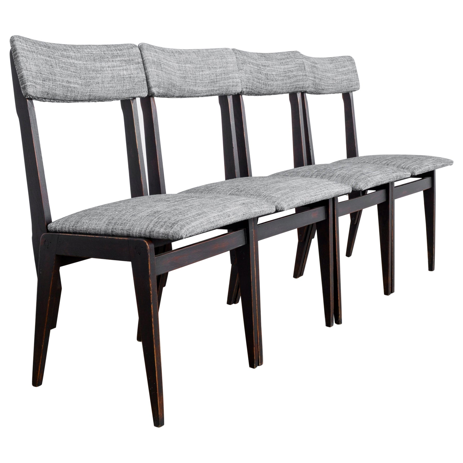 1950s Belgian Upholstered Dining Chairs, Set of Four