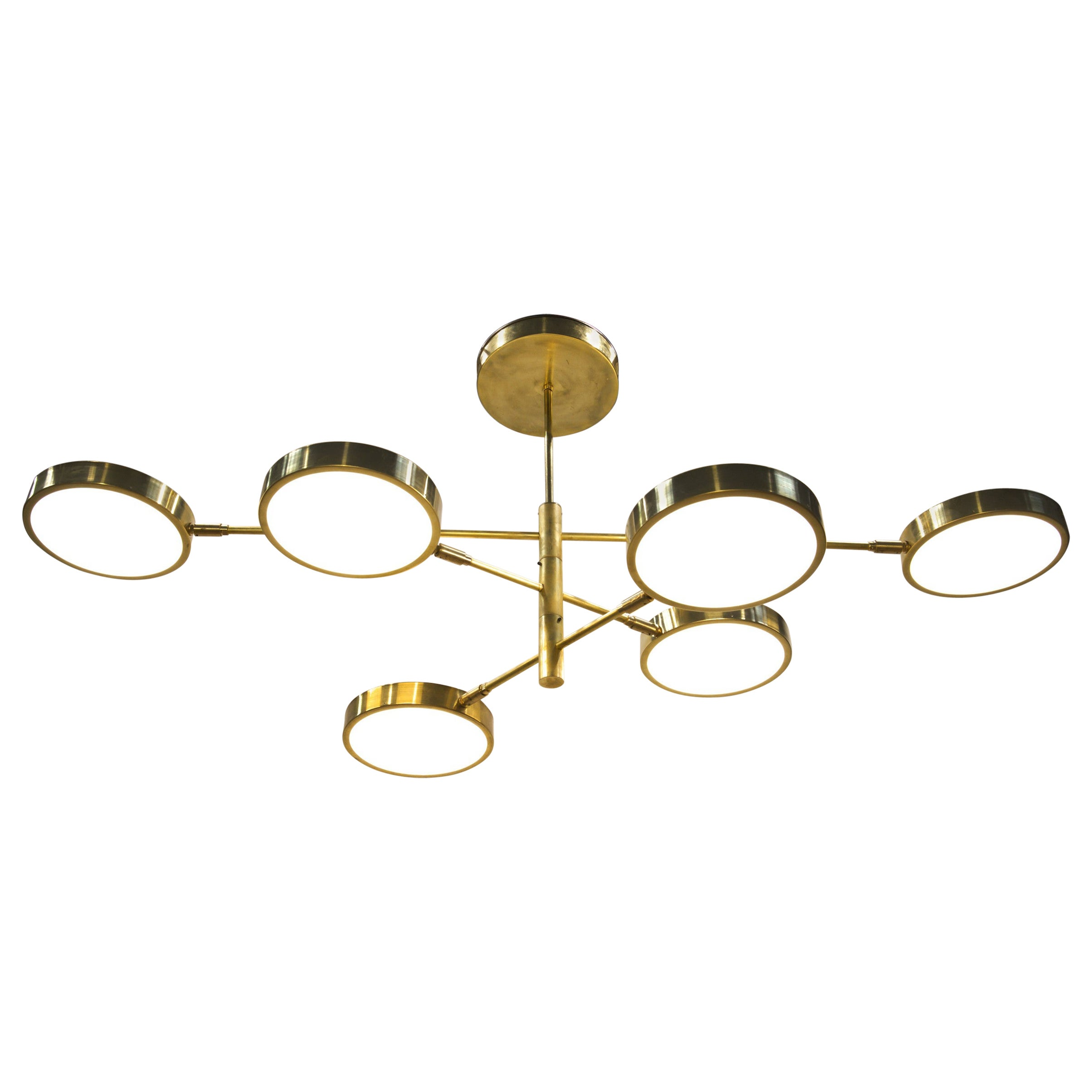 Sistema, Brass 6 Rotating Orbitale Arms Chandelier, for Oval dining Table