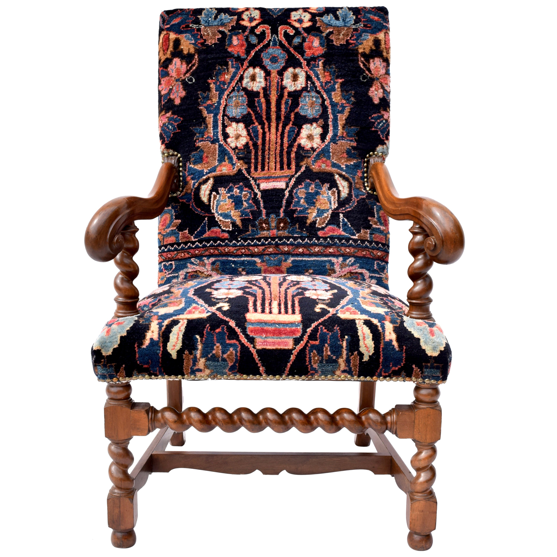 Antique English Barley Twist Oriental Carpet Upholstered Chair