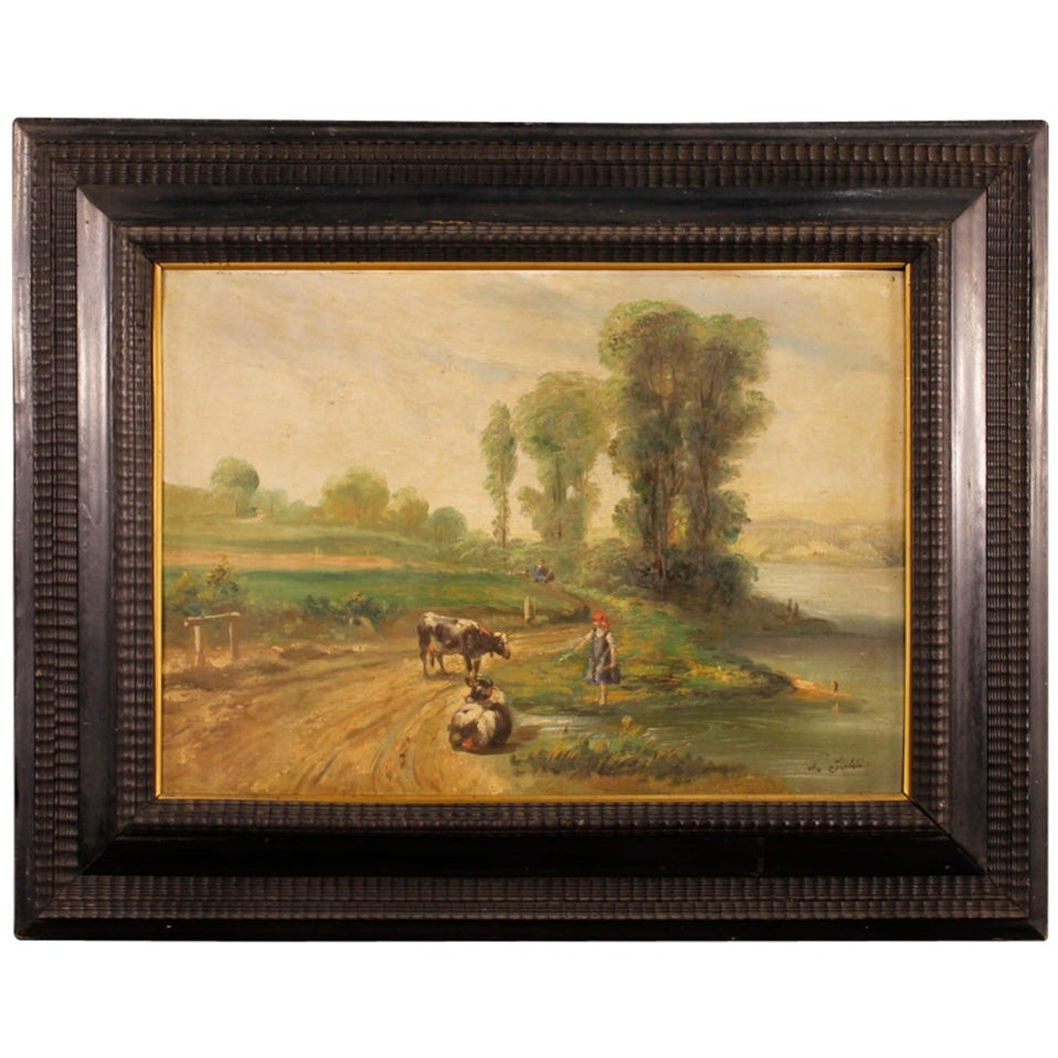French Painting Signed Bucolic Landscape, 20th Century