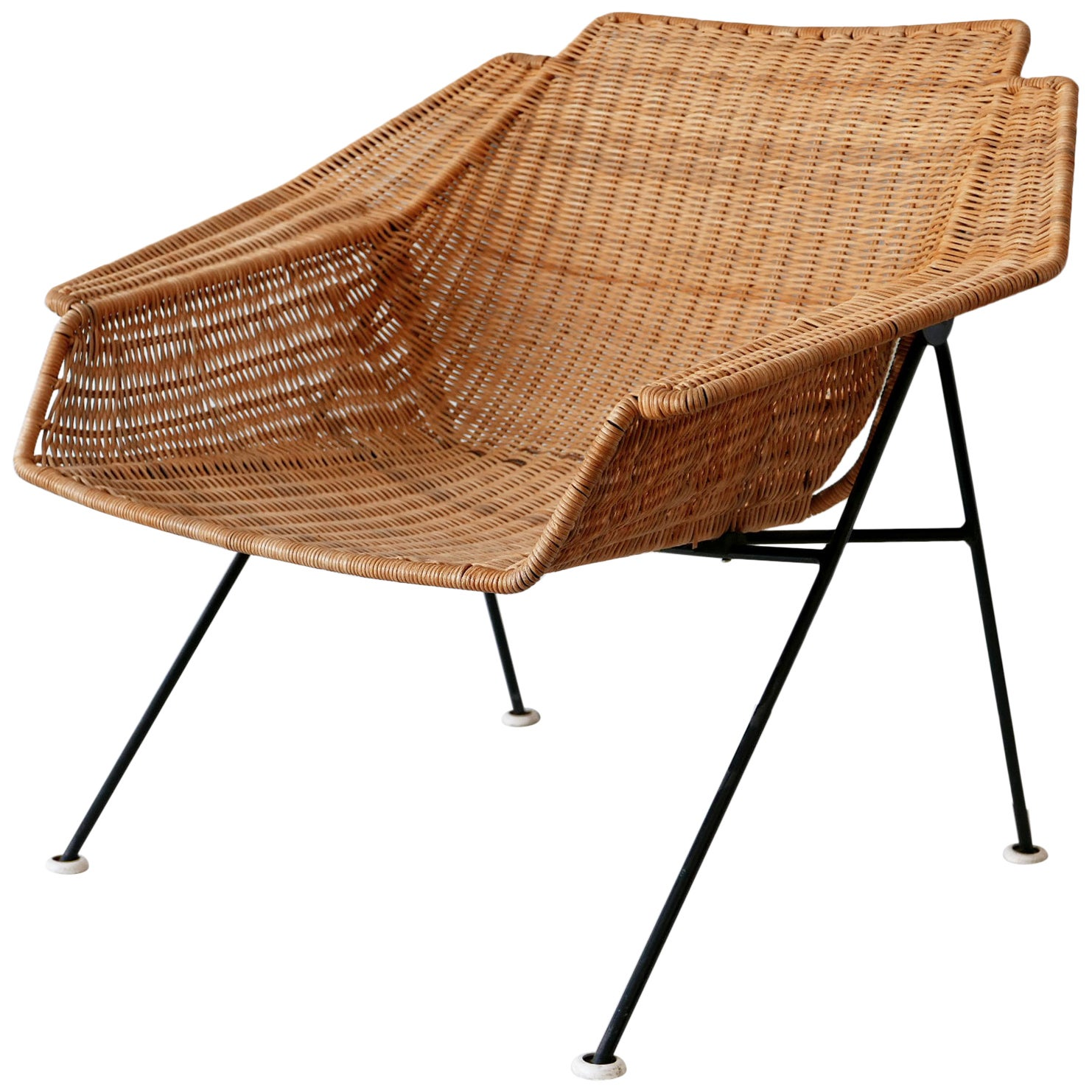 Exceptional Mid-Century Modern Wicker Lounge Chair or Armchair 1950s Sweden