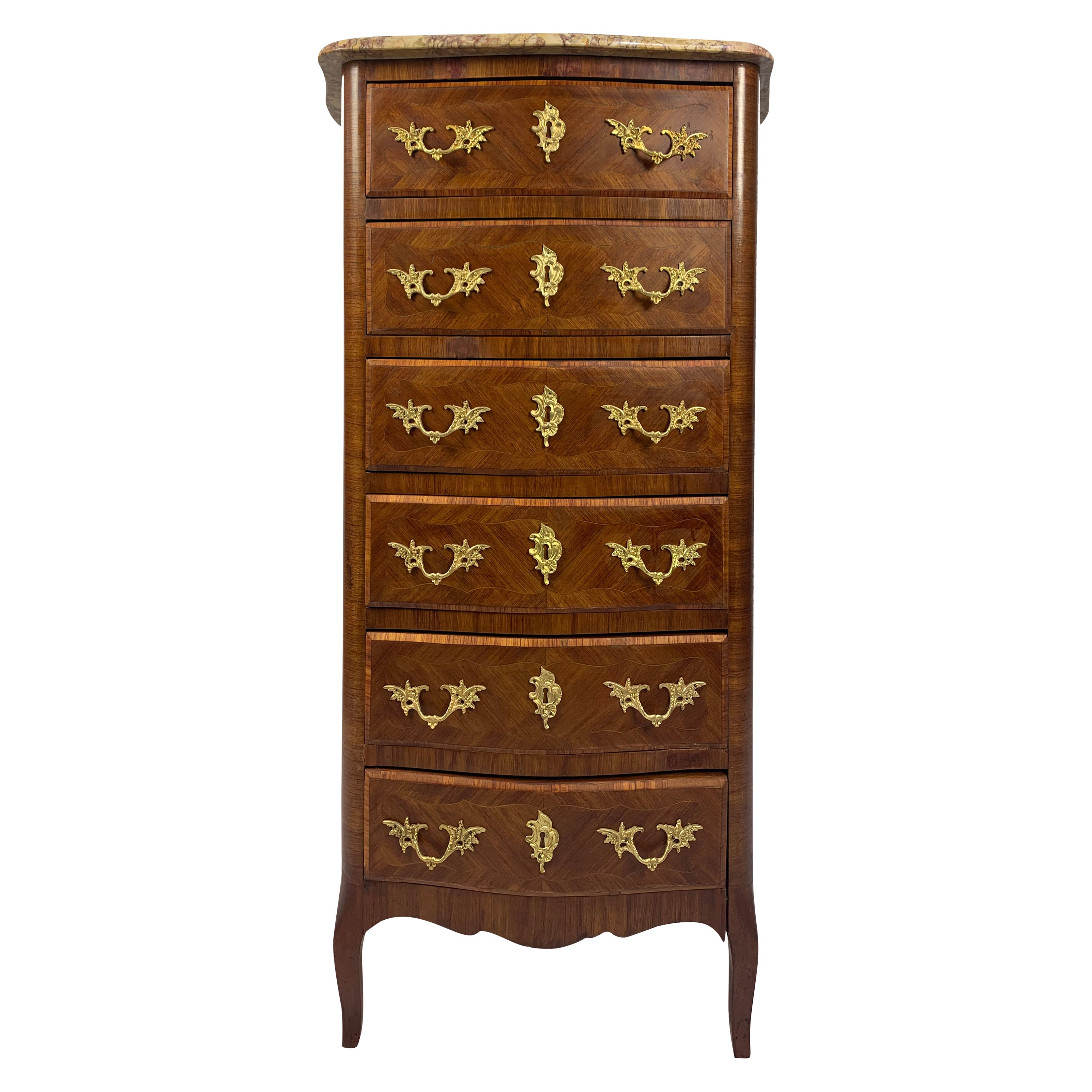 French Louis XVI Style Marble-Top and Bronze Chiffonier Lingerie Chest