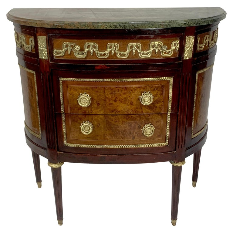 Louis XVI Marble-Top and Bronze Demilune Commode Chest For Sale
