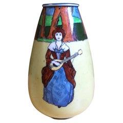 English Wardle and Co 'Stuart' Vase Depicting an Art Nouveau Maiden