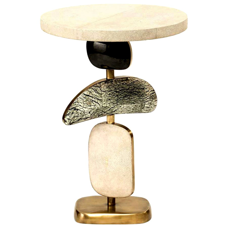 Shagreen Side Table with a Mobile Sculptural Base with Brass Accents, Kifu Paris
