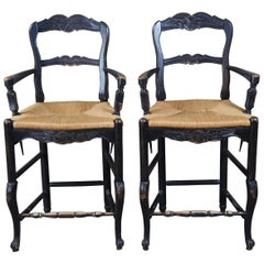 2 Vintage Country French Oak Ladder Back Bar Stools Rush Seat Arms Farmhouse