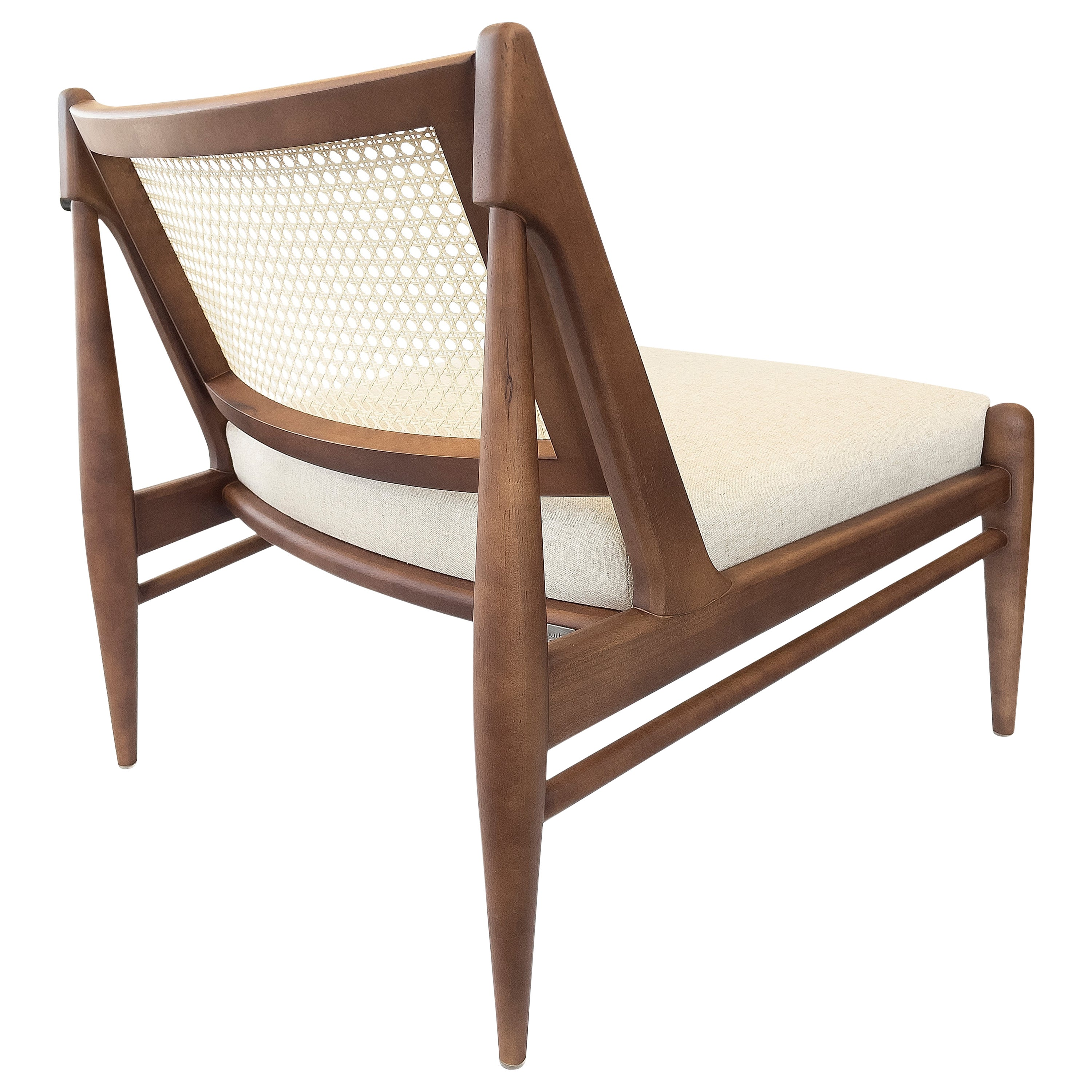 Donna Cane-Back Armchair in Walnut with an Ivory Fabric Seat