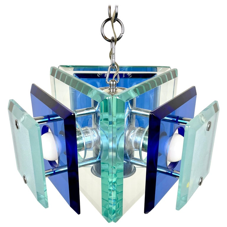 Lupi Cristal Luxor Blue Glass and Chrome Chandelier, Italy, 1970s For Sale