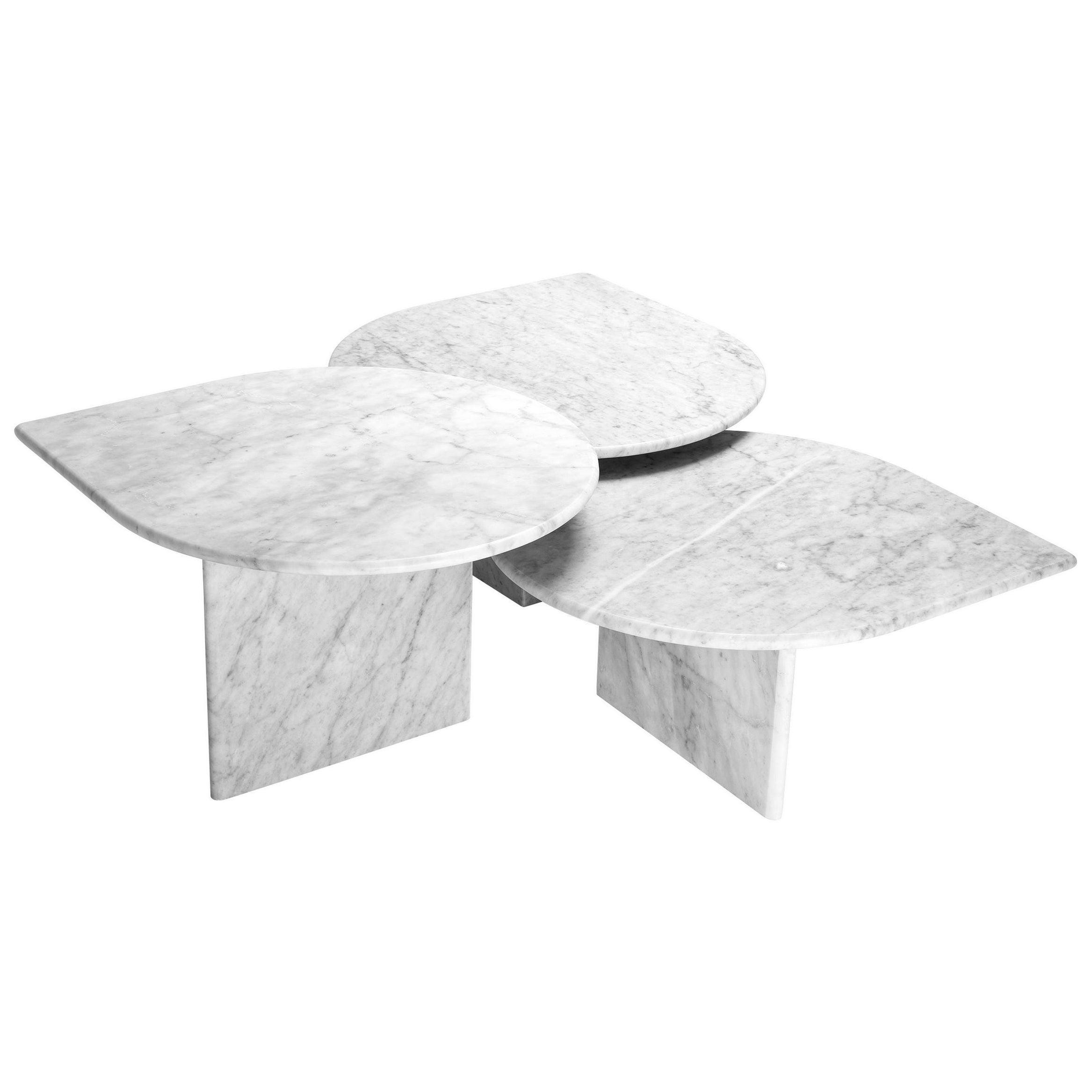 Italian 1970s Design Style White Marble Set of Three Nesting Coffee Tables