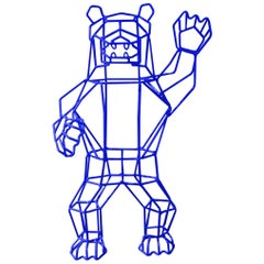 Animal Sculpture, the Wire Marching Bear by Bend Goods, Electric Blue