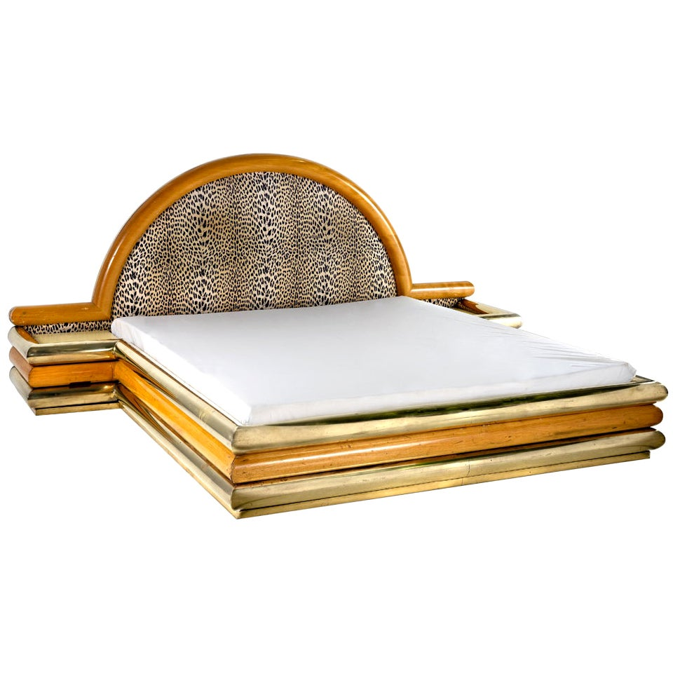 Romeo Rega Bed, Brass Wood and Fabric, Italian Design, 1970s