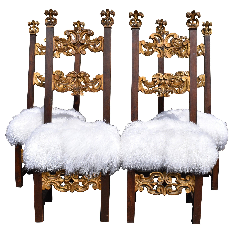 Set of Four 18th Century Louis XIV Italian Chairs