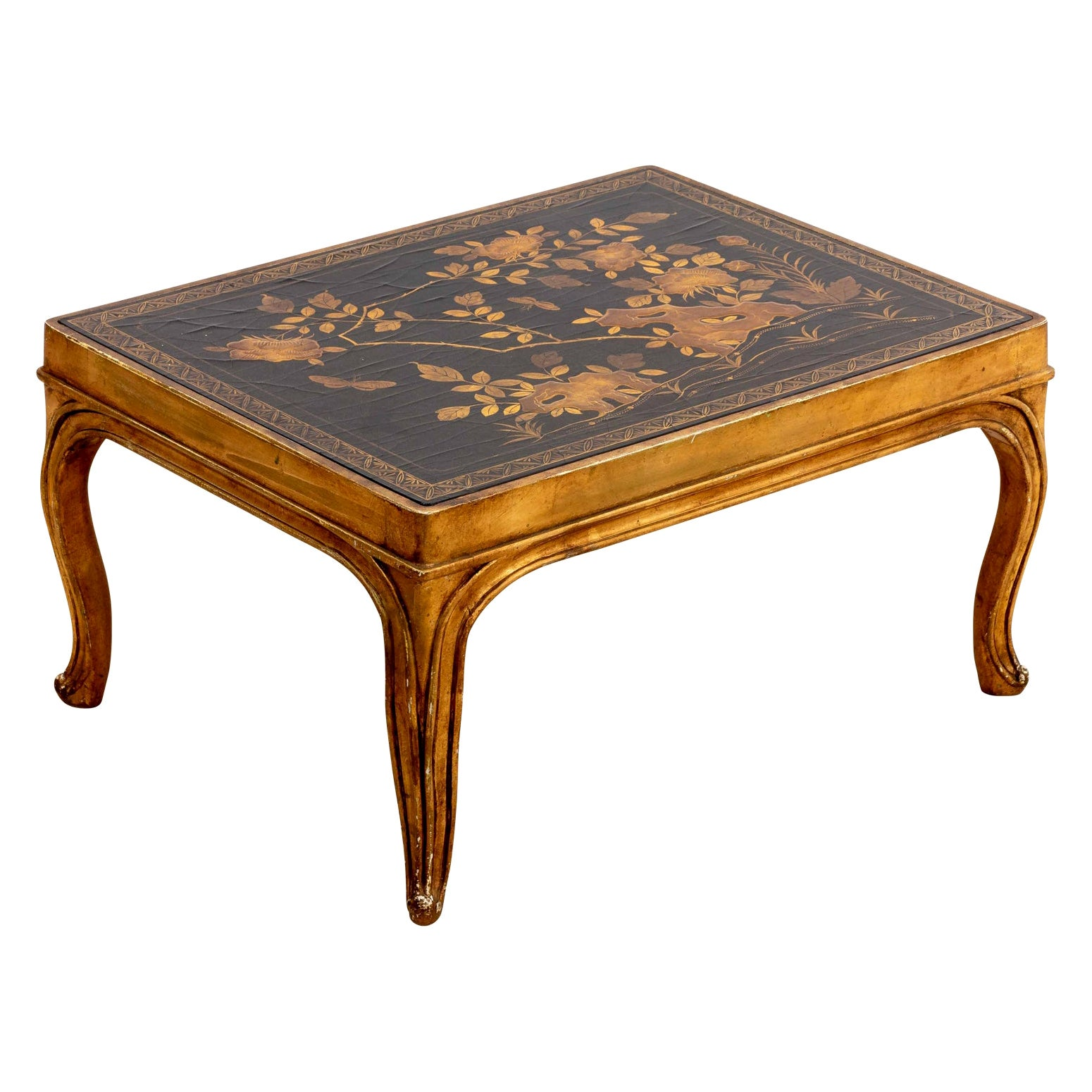Chinese Lacquered Coffee Table with Floral Tabletop