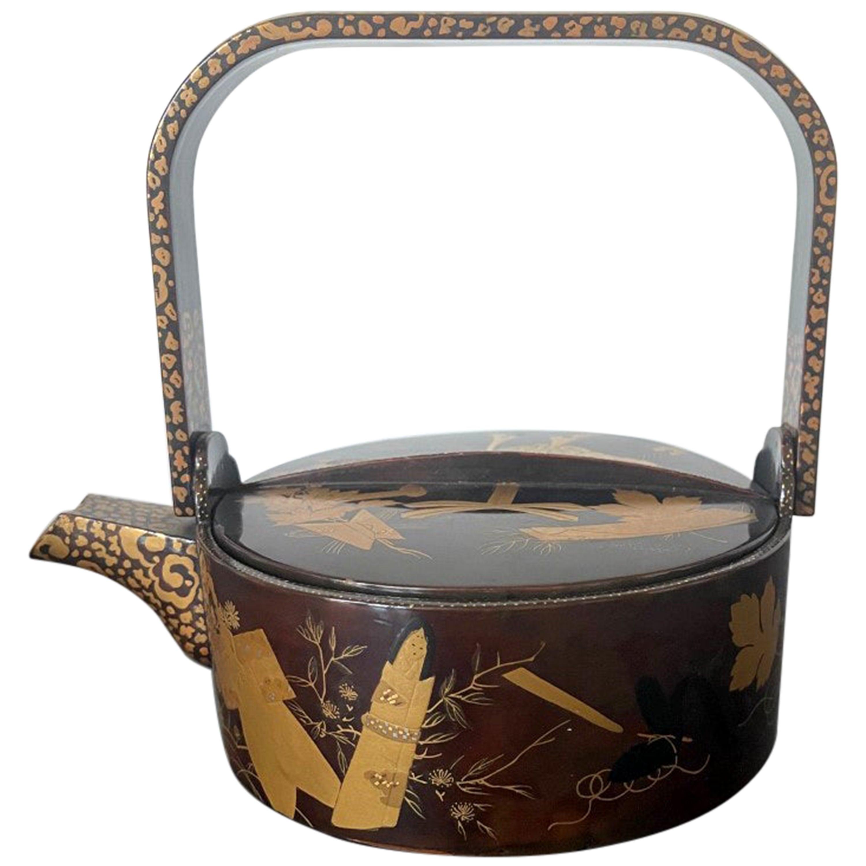 Japanese Lacquer Maki-e Sake Ewer Meiji Period