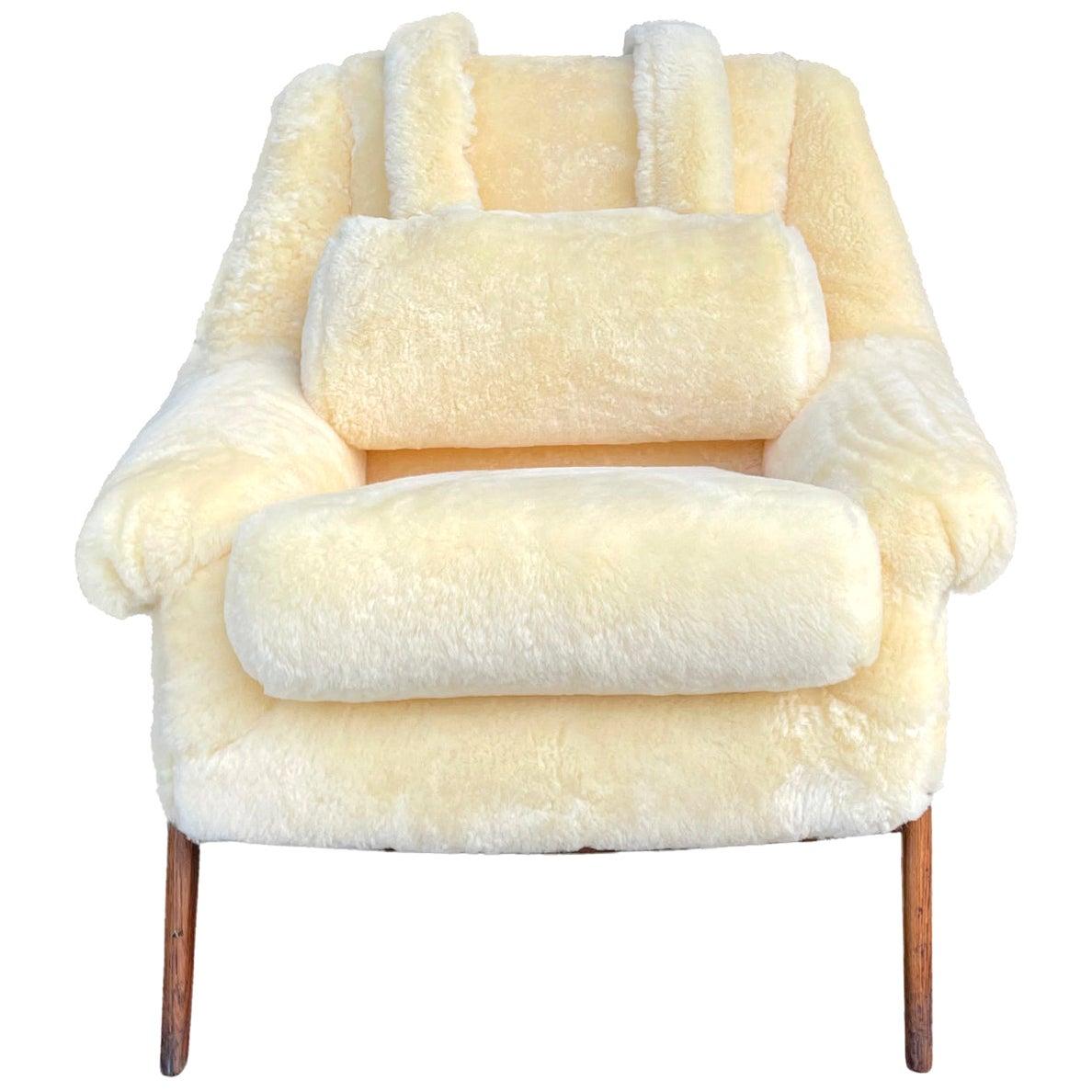 20th Century Swedish Yellow Sheepskin Swivel Lounge Chair
