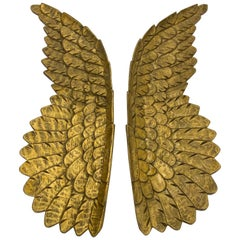 Gorgeous Pair of Italian Hand Carved Giltwood Decorative Angel Wings