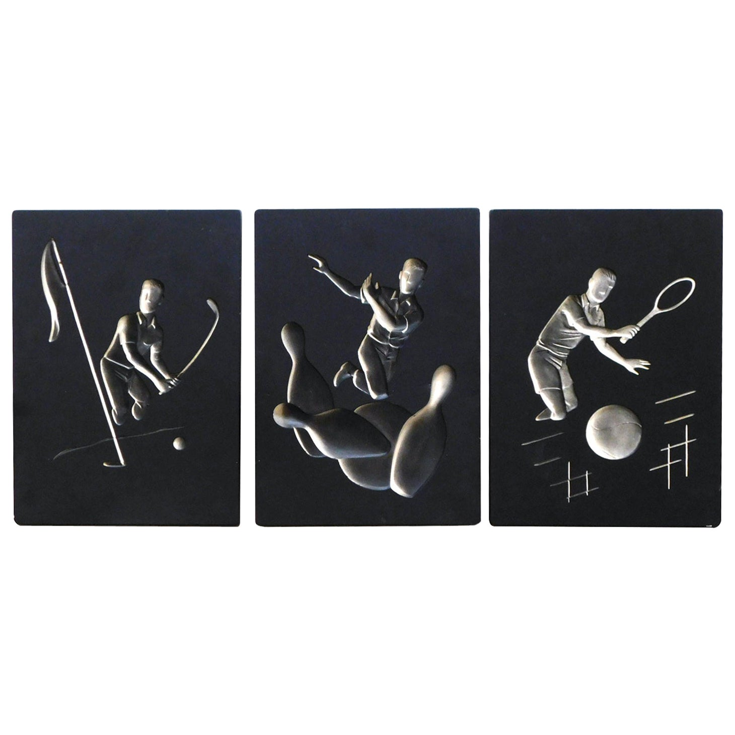 Fun Set of 3 Hans Richter 1961 Artcraft Plaster Negative Relief Sports Plaques