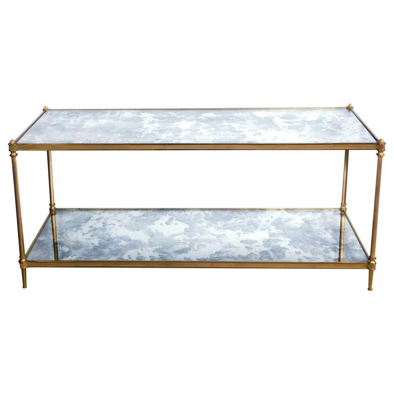 Good Quality 1960s Maison Jansen Gilt-Bronze and Mirrored 2-Tier Coffee Table For Sale