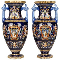 Pair of Gien French Faience Vases