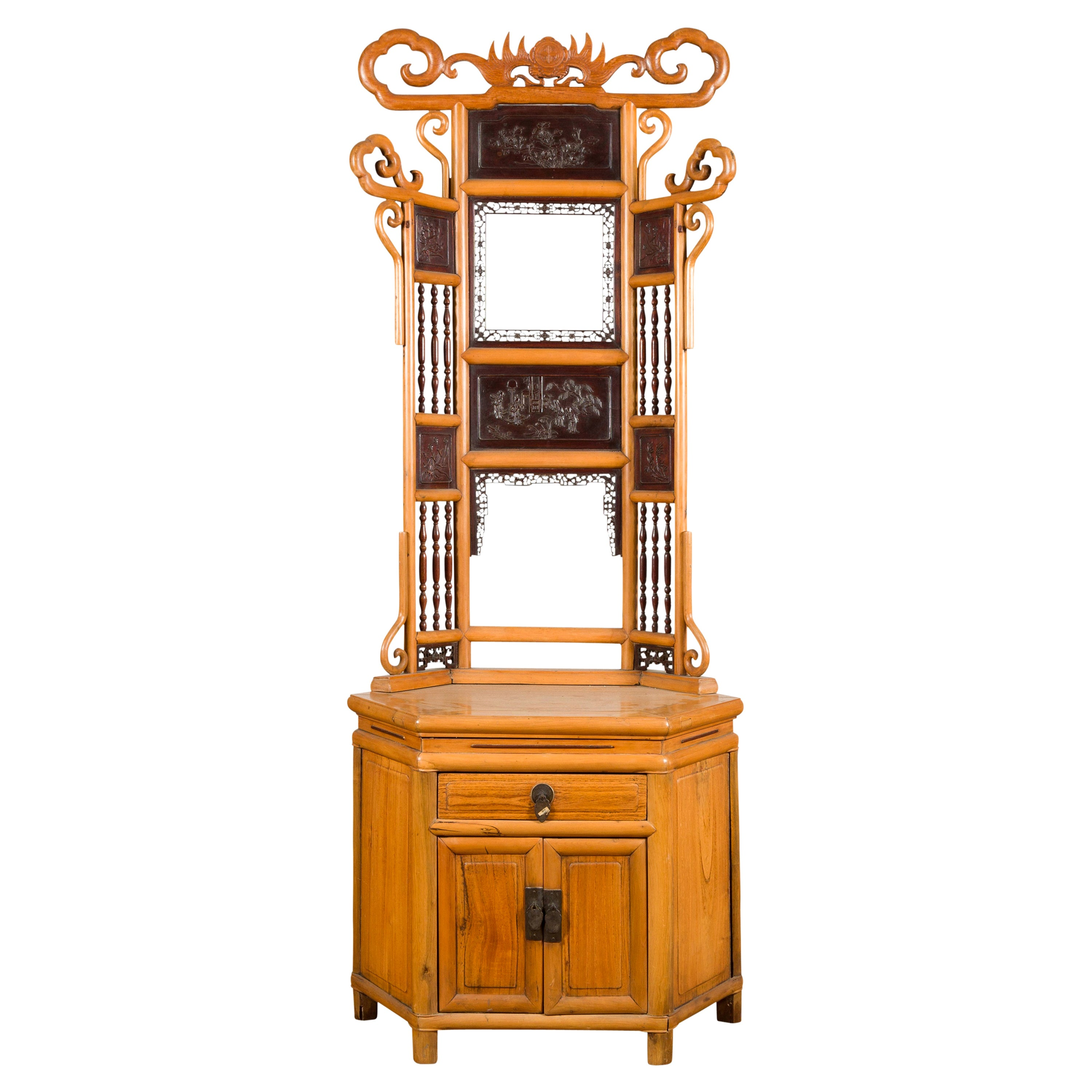 Chinese Qing Dynasty 19th Century Bamboo Washstand with Lacquered Panels