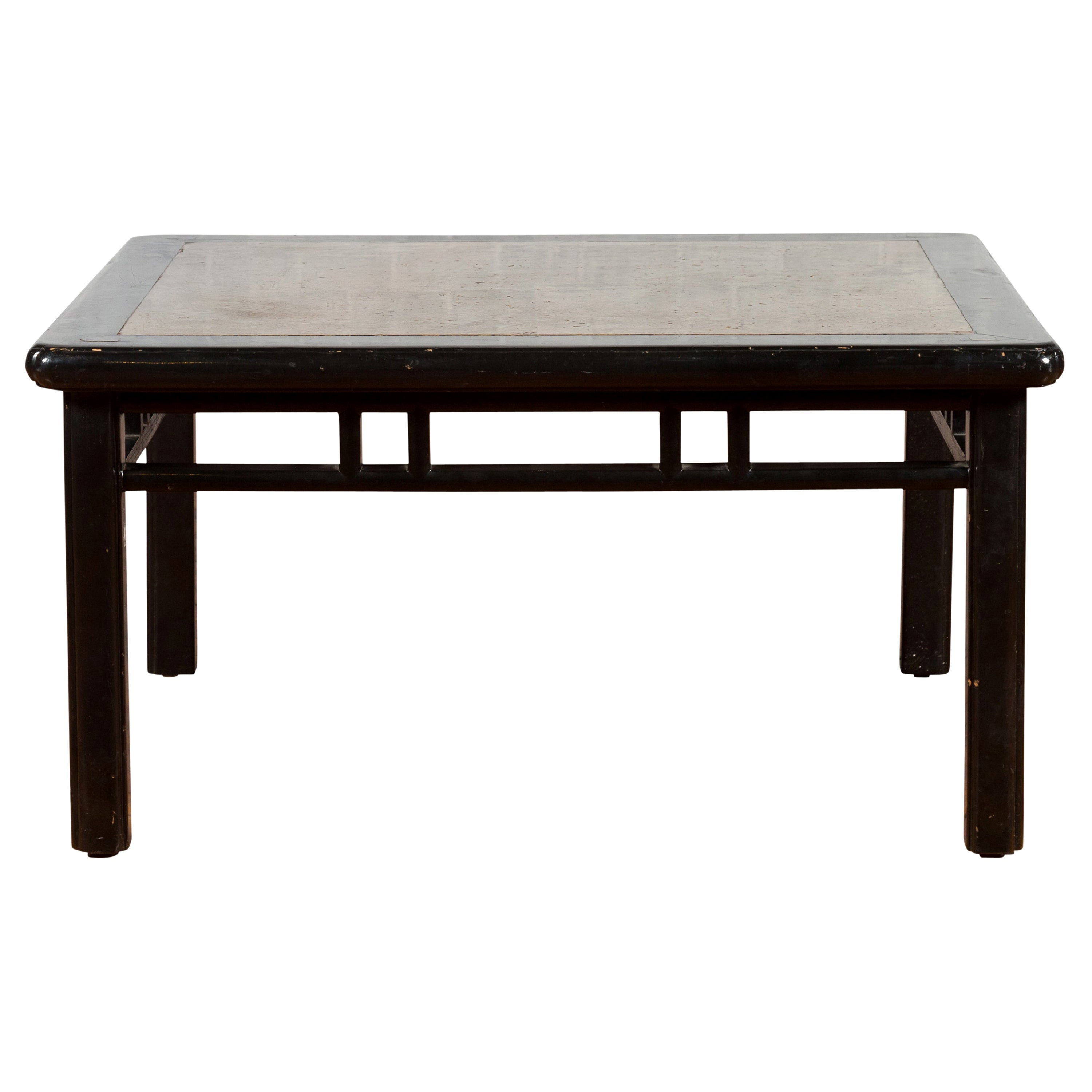Chinese Early 20th Century Black Lacquered Coffee Table with Stone Top Inset