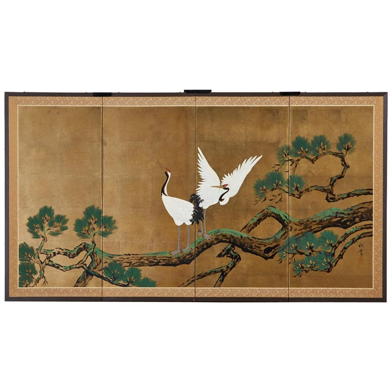 Japanese Showa Four-Panel Screen Pair of Cranes For Sale