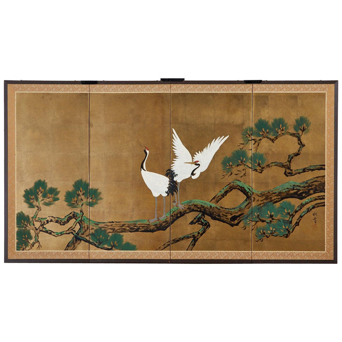 Japanese Showa Four-Panel Screen Pair of Cranes