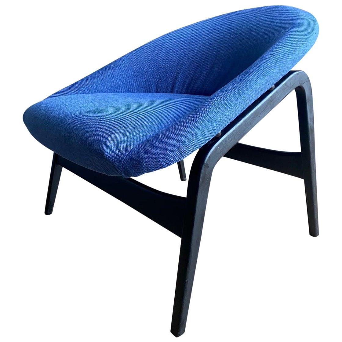 Hartmut Lohmeyer for Artifort, Blue Lounge Chair, Model Columbus, 1950s