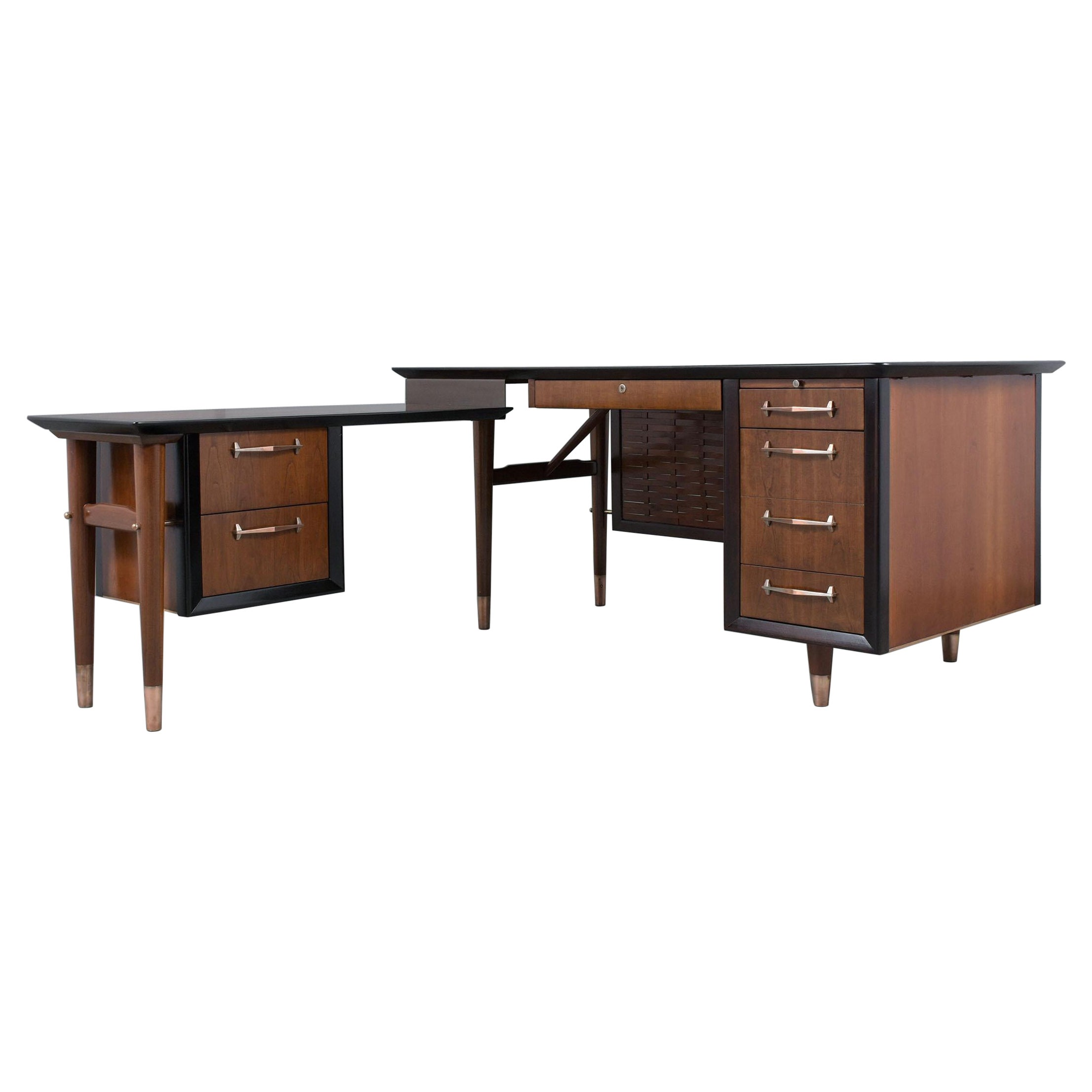 Mid-Century Modern L-Shape Executive Desk