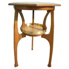 Gustave Serrurier-Bovy Style, an Oak Secessionist Side Table with Octagonal Top