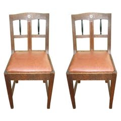 Pair of Secessionist Style Oak Side Chairs with Ebonized Spindles