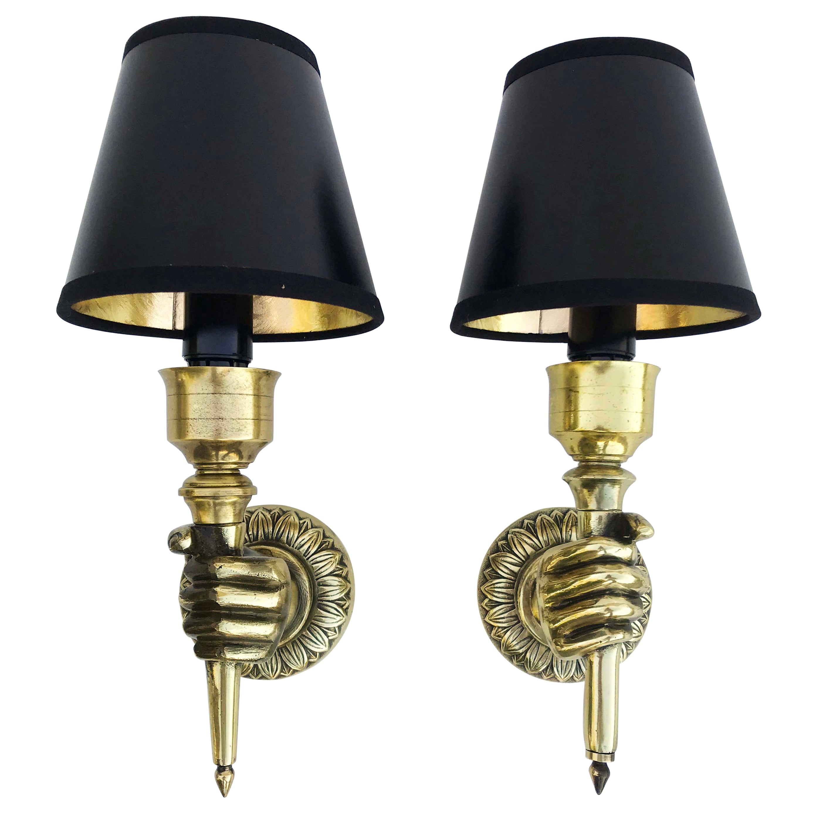 Pair of Andre Arbus Hand Sconces