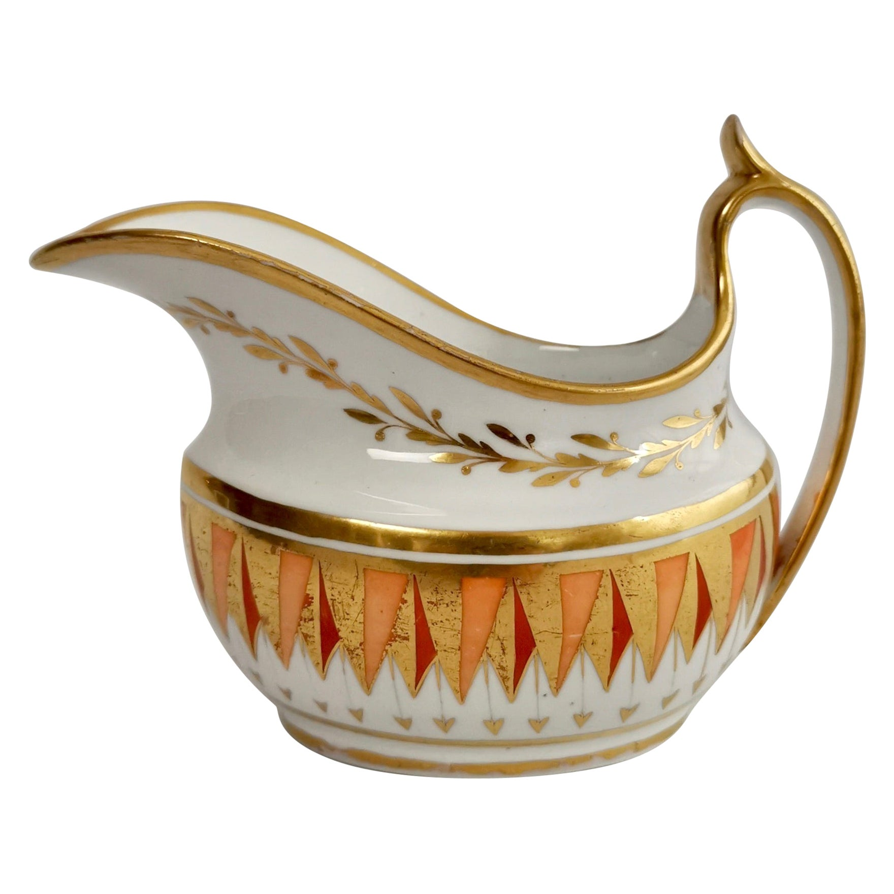 Spode Porcelain Milk Jug, Orange and Gilt, Regency, circa 1805