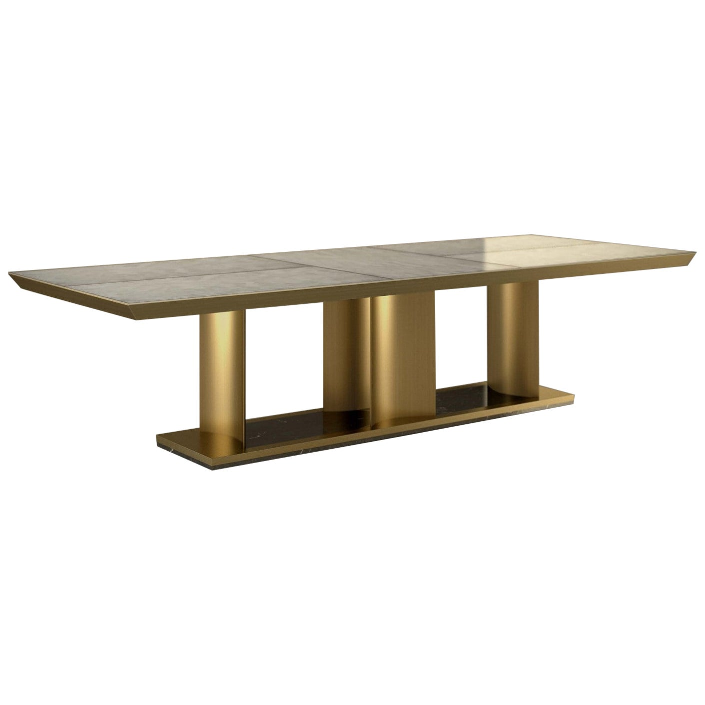 """Giovannozzi Home, Dining Table """"SAILS"""" Marble and Metal Brass Finish"""
