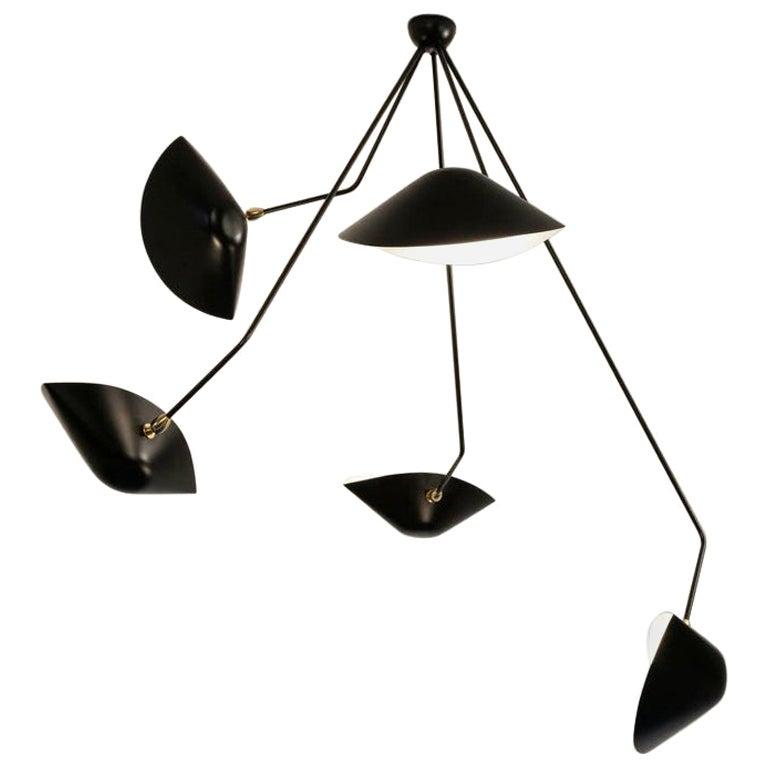 Serge Mouille Spider Five Broken Arms Ceiling Lamp