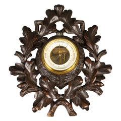 German Black Forest Barometer with Hand Carved Oak Leaves and Acorns, 1920s