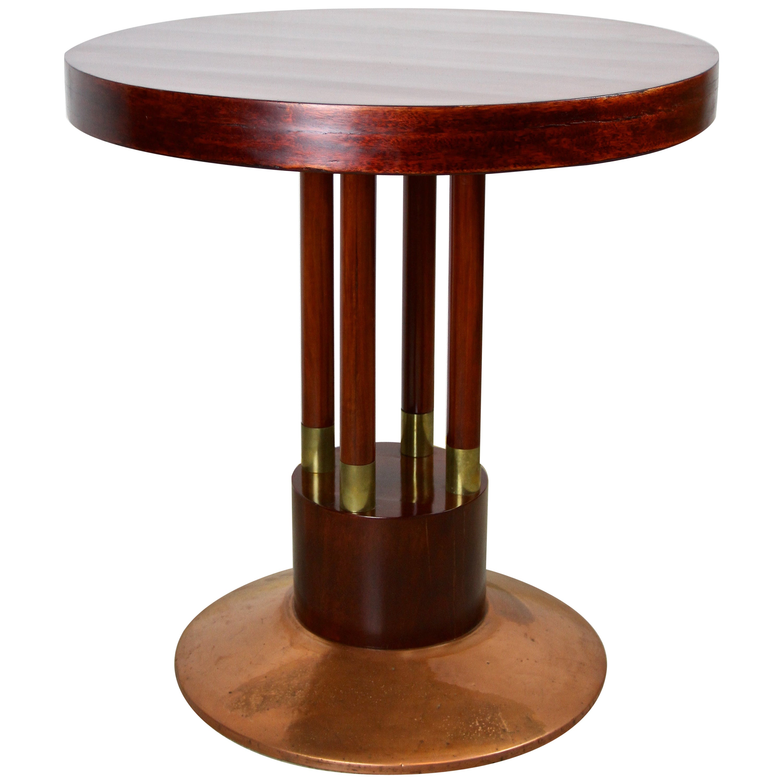 Art Nouveau Coffee Table with Copper Base, Austria, circa 1910