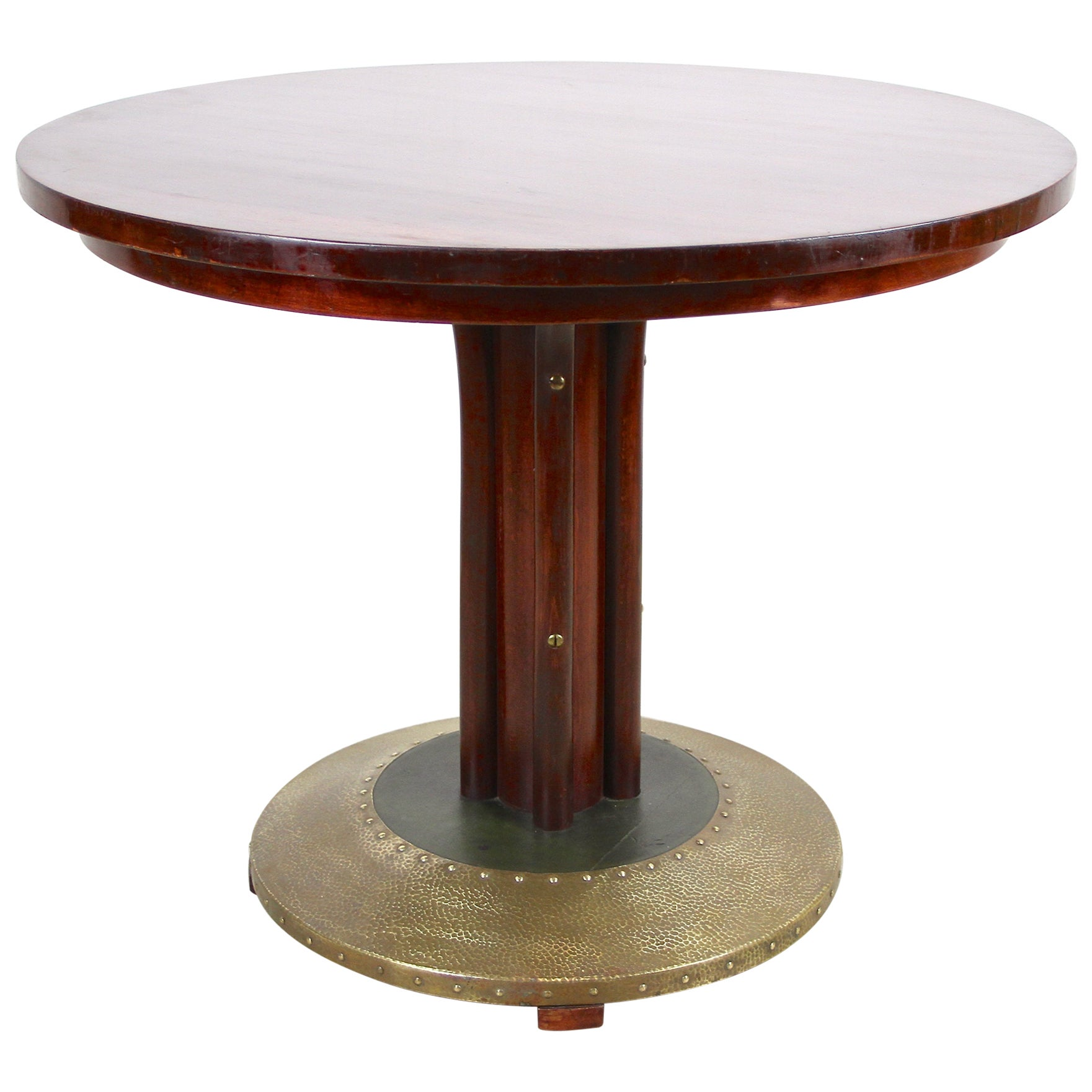 Thonet Bentwood Coffee Table with Hammered Brass Base, Austria, circa 1915
