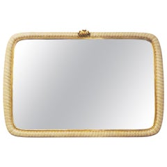 Italian Scalloped Mirror in Ivory Lacquer and Gold Leaf