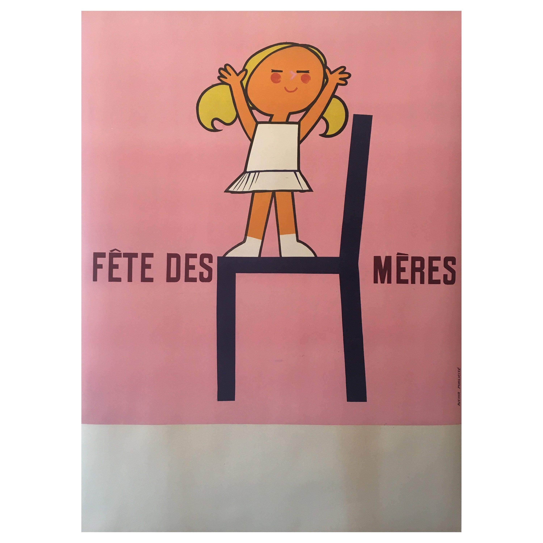 Original French Vintage Poster, 'Fête Des Mères', 1950s, Advertising