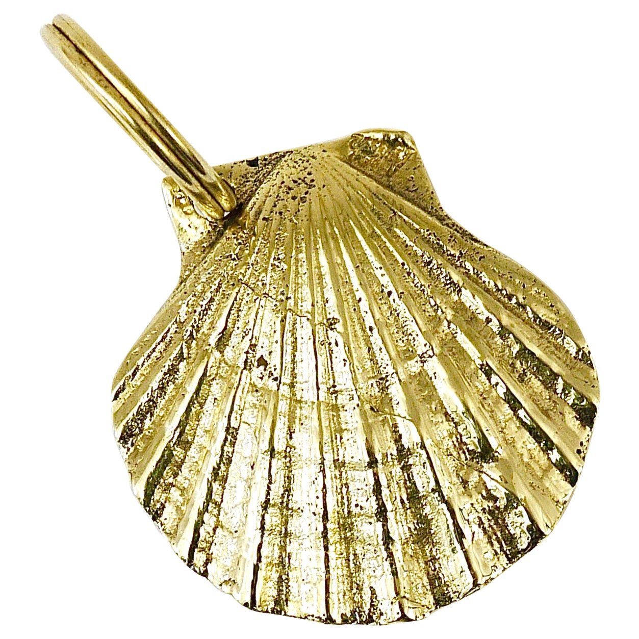 Carl Auböck Handcrafted Midcentury Brass Shell Figurine Key Ring Chain Holder