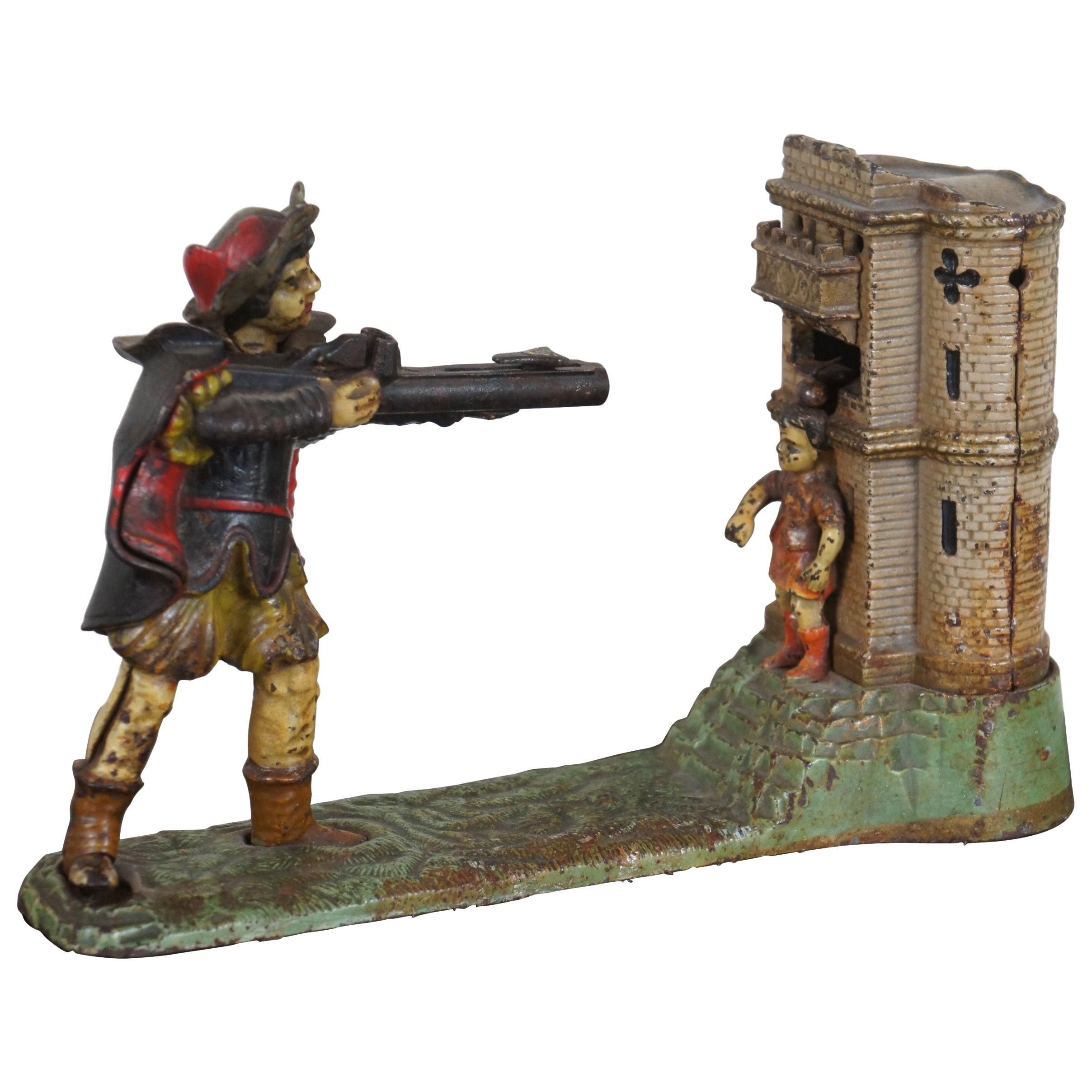 1896 Antique William Tell Cast Iron Mechanical Bank J&E Stevens Americana Toy