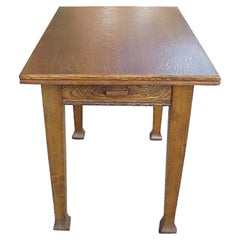 Arts & Crafts Oak Swivel and Fold Over Dining Table with Cutlery Drawer