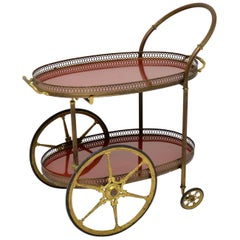 1960s Vintage French Brass Drinks Trolley