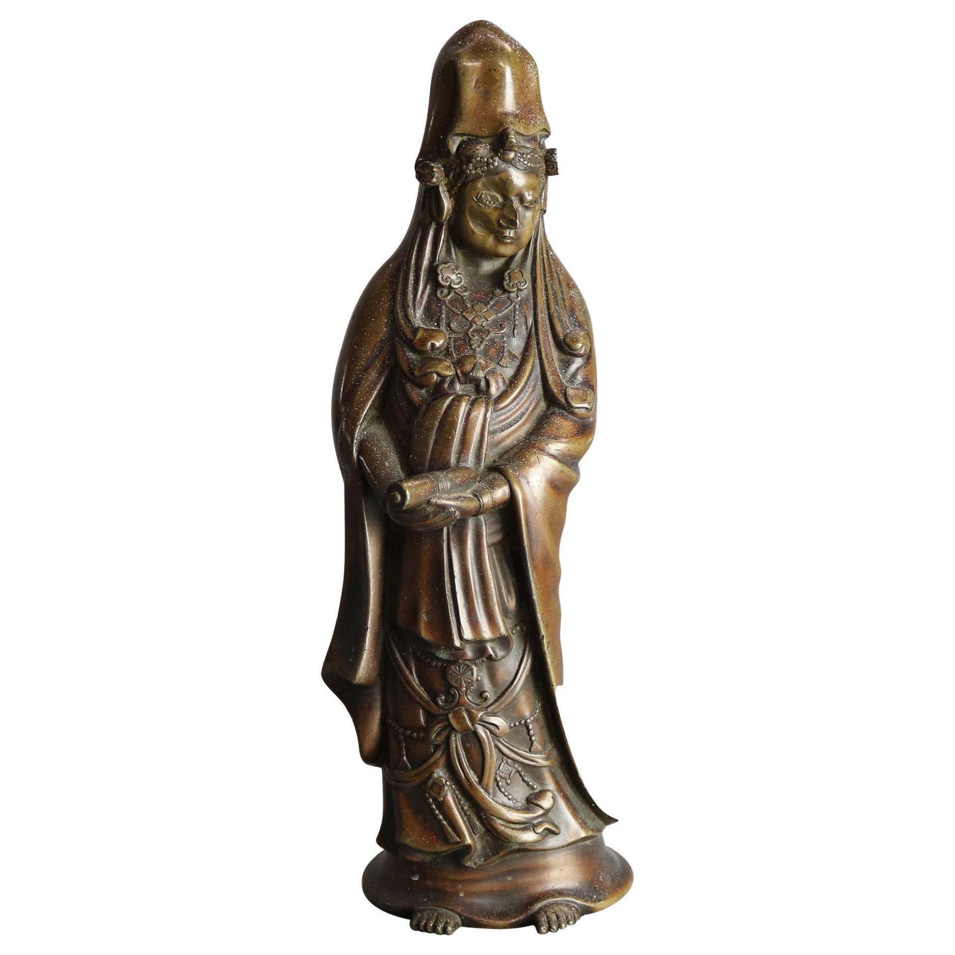 Antique Oriental Bronzed Buddha Sculpture, 19th Century