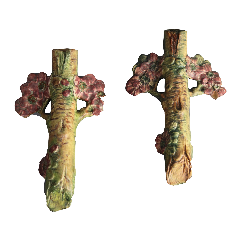 Pair of Antique Weller Woodcraft Art Pottery Apple Blossom Wall Pockets, c1930