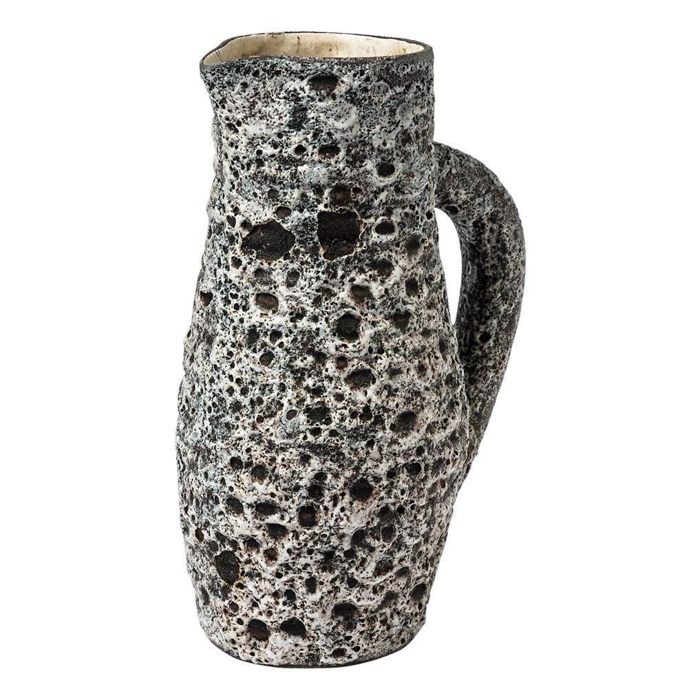 Anne Masse Vallauris Black and Whitemid Century Ceramic Pitcher, circa 1960